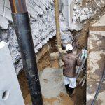 私立校 土留石改修工事中
